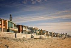 Huizen op het Strand, Californië Stock Foto's