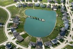 Huizen op het water Stock Foto