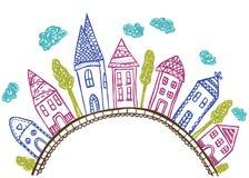 Huizen op heuvel - krabbelillustratie Royalty-vrije Stock Afbeeldingen