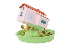 Huizen op juicer, in goud 3D Illustratie Royalty-vrije Stock Afbeeldingen