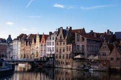 Huizen op Leie, Gent royalty-vrije stock afbeelding