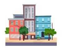 Huizen op straat met weg in stad Cityscape Royalty-vrije Stock Foto's