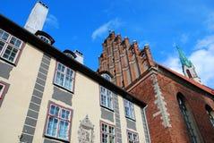 Huizen in oude stad, de stad van Riga, Letland Stock Afbeelding