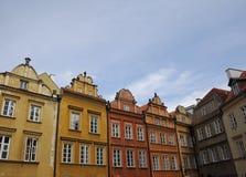Huizen in Oude Stad, Warshau, Polen Royalty-vrije Stock Foto