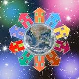Huizen rond de Aarde - conceptenbeeld Royalty-vrije Stock Afbeelding