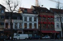 Huizen in St Catherine vierkant, Brussel Stock Afbeelding