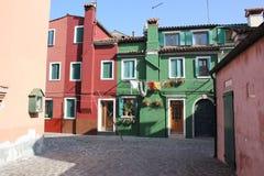 Huizen van Burano Venetië Italië Royalty-vrije Stock Foto's