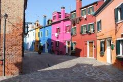 Huizen van Burano Venetië Italië Stock Foto's