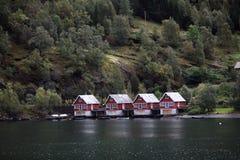 Huizen van flam, Noorwegen Stock Afbeelding