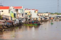 Huizen van Mekong Delta in Vietnam stock afbeelding