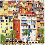 Huizen van zonnige Menton Stock Afbeelding