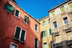 Huizen in Venetië, Detail Stock Foto's