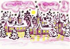 Huizen in violette kleuren, het schilderen Stock Foto's
