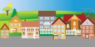 Huizen voor verkoop en verhindering Stock Afbeeldingen