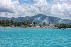 Huizen in water in de Dominicaanse republiek van Amber Cove, puertoplein, stock foto