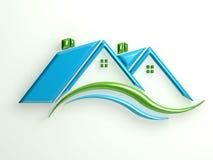 Huizengemeenschap met dak en golven Stock Foto's