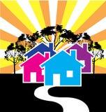 Huizenillustratie voor Real Estate Stock Foto's