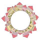 Huizenkrabbels in cirkel Royalty-vrije Stock Foto