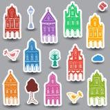 Huizenkrabbels op gekleurde achtergrond Royalty-vrije Stock Afbeelding