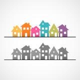 Huizenpictogram in de voorsteden Stock Afbeelding