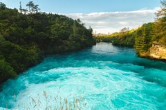 Huka Falls, North Island of New Zealand stock photo