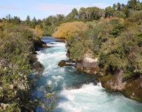 Huka Falls River, New Zealand. Detail of the fast flowing river feeding the Huka Falls, New Zealand Stock Image