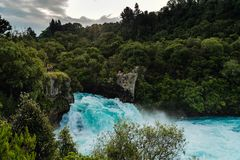 Huka Falls during sunset, North Island New Zealand stock images