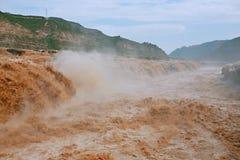 Hukou nedgångar av Yellow River Arkivbilder