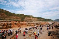 Hukou nedgångar av Yellow River Arkivfoto