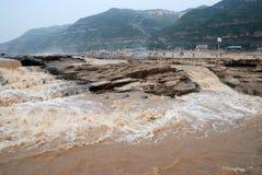 Hukou vattenfall av Kina Yellow River arkivbild