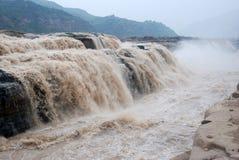 Hukou vattenfall av Kina Yellow River Arkivfoton