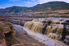HUKOU WATERFALL. Yellow River is China\'s second largest river ,also known as \'Mother River\' in China .Hukou is the middle reaches of Yellow River .When the Stock Photo