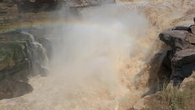 Hukou waterfall-the biggest yellow waterfall in China stock footage