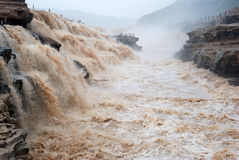 Hukou Waterfall of China's Yellow River. Hukou Waterfall is located in the Yellow River on the Shanxi-Shaanxi border. At 50 meters high, it is the largest Royalty Free Stock Photography