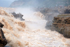 Hukou Waterfall of China's Yellow River. Hukou Waterfall is located in the Yellow River on the Shanxi-Shaanxi border. At 50 meters high, it is the largest Royalty Free Stock Photo