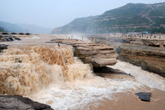 Hukou Waterfall of China's Yellow River. Hukou Waterfall is located in the Yellow River on the Shanxi-Shaanxi border. At 50 meters high, it is the largest Stock Images
