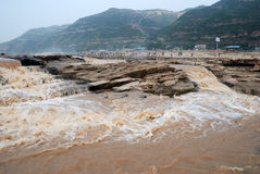 Hukou Waterfall of China's Yellow River. Hukou Waterfall is located in the Yellow River on the Shanxi-Shaanxi border. At 50 meters high, it is the largest Stock Photography