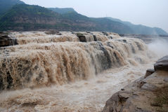 Hukou Waterfall of China's Yellow River. Hukou Waterfall is located in the Yellow River on the Shanxi-Shaanxi border. At 50 meters high, it is the largest Royalty Free Stock Image