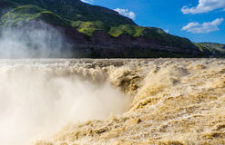 HuKou waterfall. Spectacular Hukou Waterfall of Yellow river in China, located on the Shanxi-Shaanxi border.At 50 meters high it is the second highest waterfall Royalty Free Stock Photography