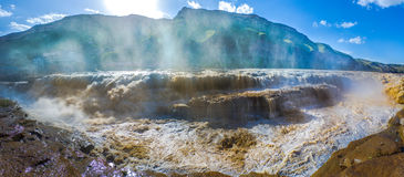 HuKou waterfall. Spectacular Hukou Waterfall of Yellow river in China, located on the Shanxi-Shaanxi border.At 50 meters high it is the second highest waterfall Royalty Free Stock Photo