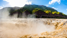 HuKou waterfall. Spectacular Hukou Waterfall of Yellow river in China, located on the Shanxi-Shaanxi border.At 50 meters high it is the second highest waterfall Stock Image