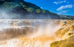 HuKou waterfall. Spectacular Hukou Waterfall of Yellow river in China, located on the Shanxi-Shaanxi border.At 50 meters high it is the second highest waterfall Stock Photo