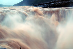 Hukou Waterfalls (Kettle Spout Falls). The Hukou Waterfall, the largest waterfall on the Yellow River, China, the second largest waterfall in China, is located Royalty Free Stock Images