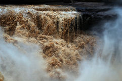 Hukou Waterfalls (Kettle Spout Falls). The Hukou Waterfall, the largest waterfall on the Yellow River, China, the second largest waterfall in China, is located Royalty Free Stock Photography