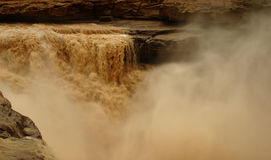 Hukou Waterfalls (Kettle Spout Falls). The Hukou Waterfall, the largest waterfall on the Yellow River, China, the second largest waterfall in China, is located Stock Image