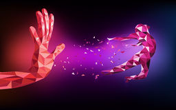 Huku abstrakt technologiczna wielobok ręka royalty ilustracja