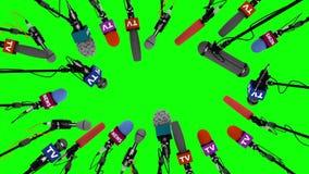 Huku słupa mikrofony na zieleń ekranie, 3D animacja ilustracji
