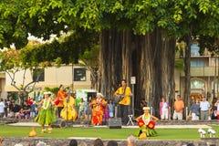 Hula舞蹈家夏威夷ohau美国 免版税库存图片