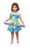 有hula箍的小女孩 免版税库存照片