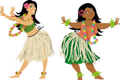 Hula dance lesson. Hula dance teacher and student characters, wearing grass skirts and lei, EPS 8 vector illustration, no transparencies Stock Images